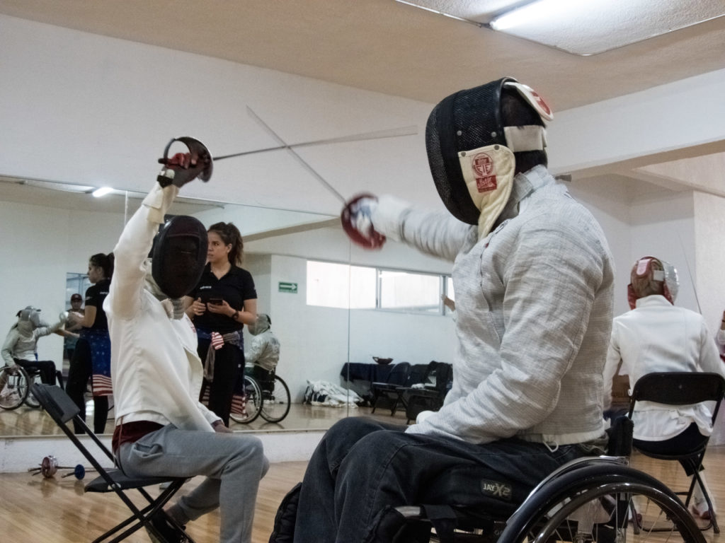 A wheelchair fencer learns to block