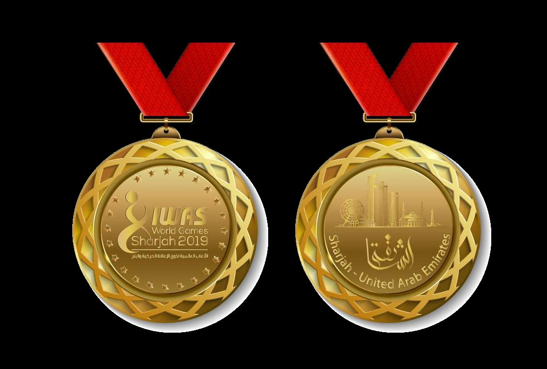 The medal designs for the IWAS World Games 2019 feature the competition logo and a cityscape of Sharjah
