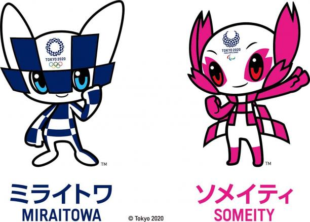 The Tokyo 2020 Olympic and Paralympic mascots are blue and white check and pink and white check respectively