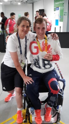 Piers Gilliver and Shuna Body pose with Piers' silver medal at Rio 2016