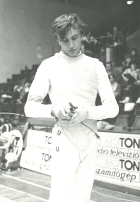 Pal Szkeres pictured on the piste as an able-bodied fencer