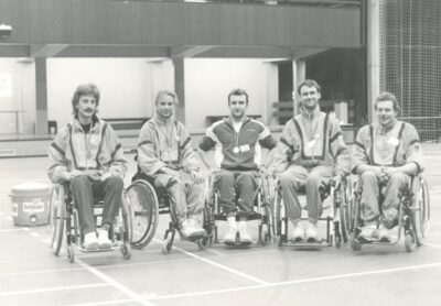 Pal Szekeres is pictured in 1991 with German wheelchair fencers